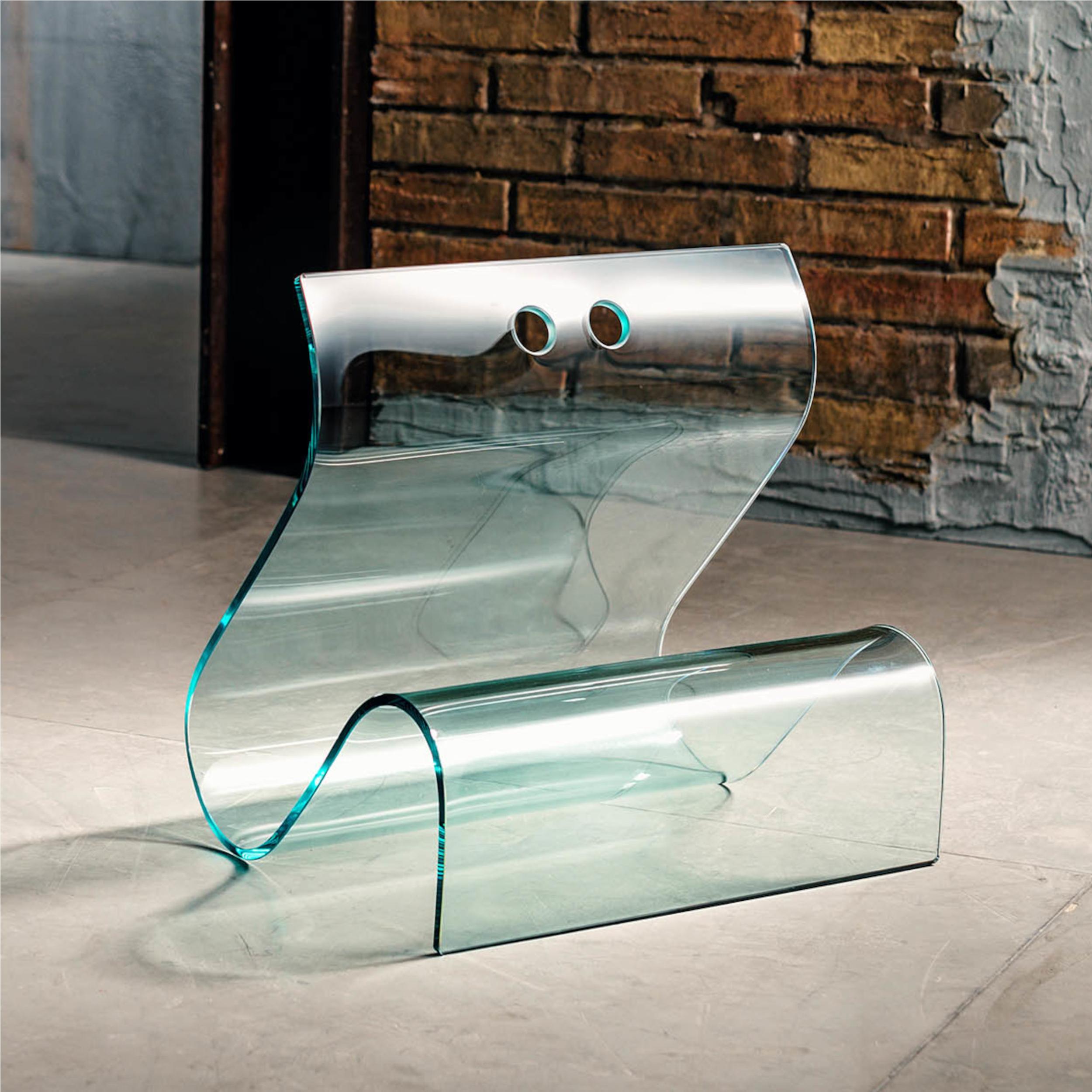 Portariviste in vetro curvato ONDA 40x35xh42 cm spessore 8 mm colore ...