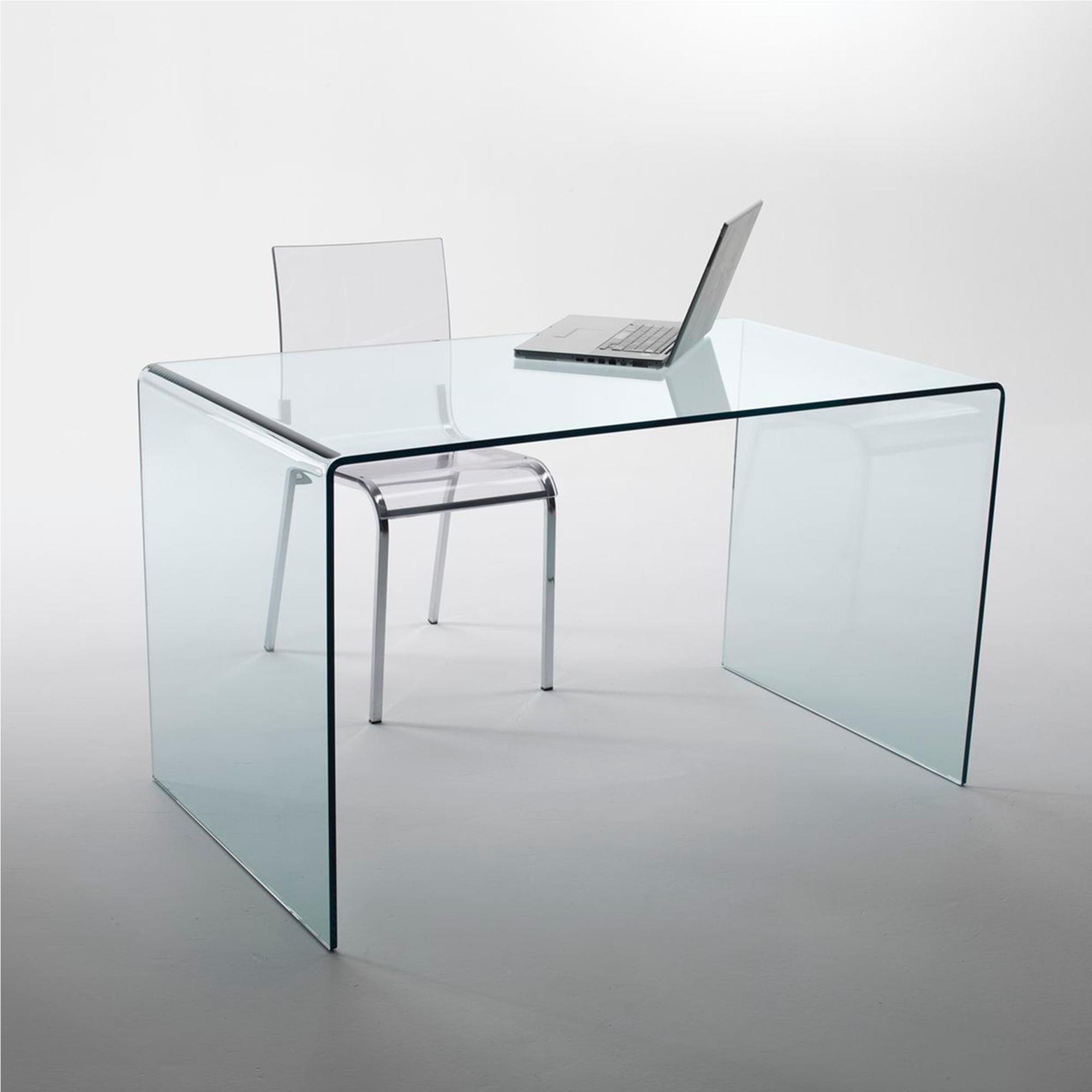 tavolo scrivania in vetro curvato 100x70xh73 cm spessore 12 mm trasparente vetro curvato. Black Bedroom Furniture Sets. Home Design Ideas