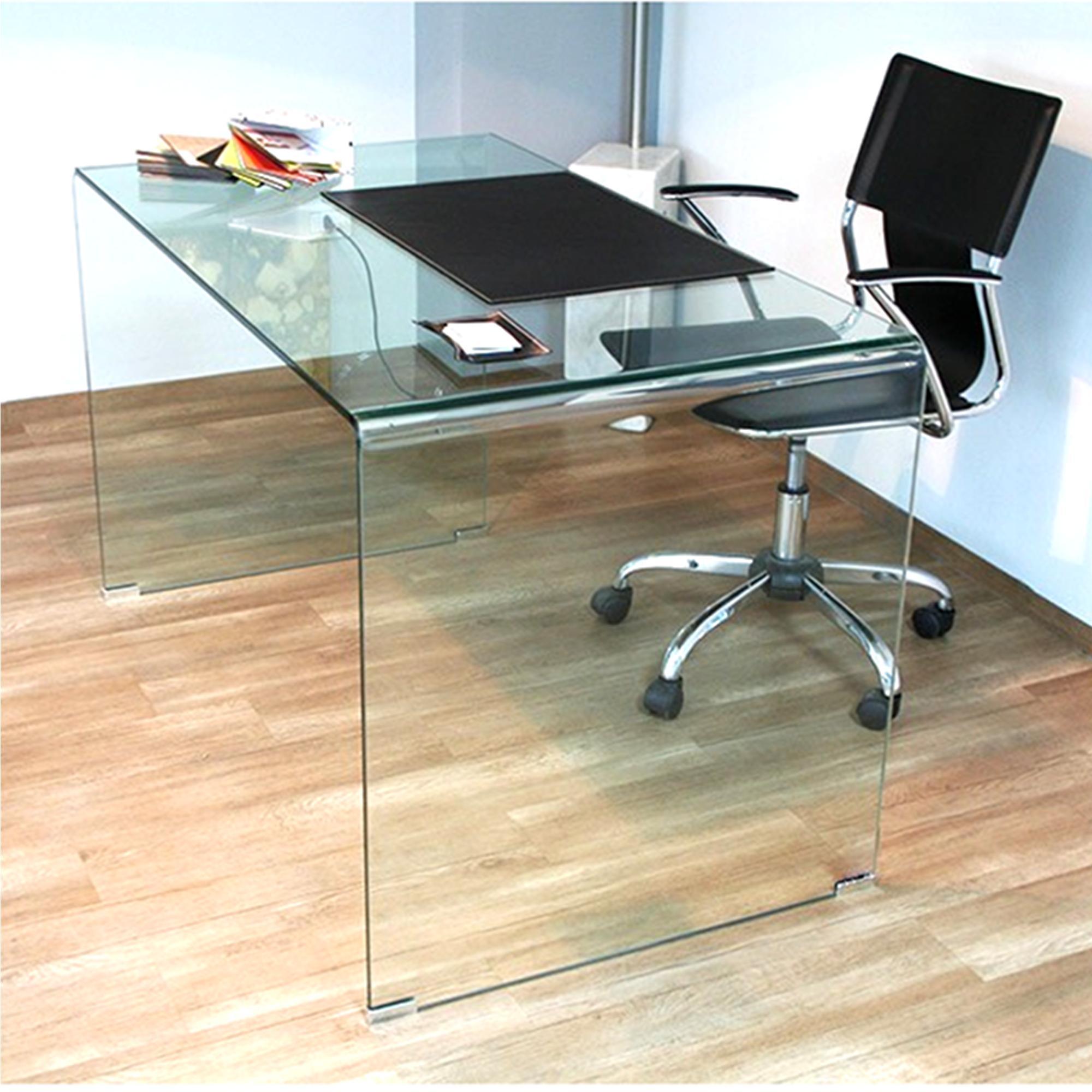 Tavolo Scrivania in vetro curvato 100x70xh73 cm spessore 12 mm ...