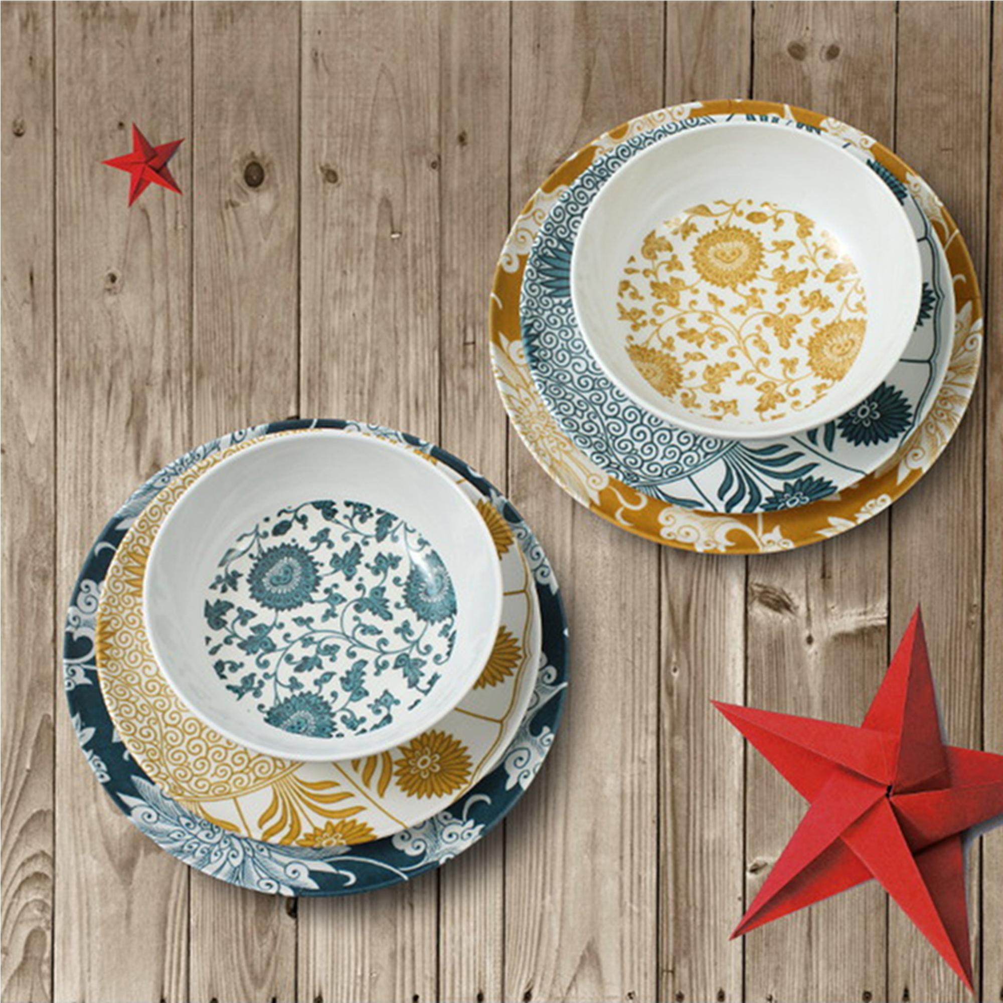 Set 6 piatti in melamina damasco prodotti in italia giallo - Piatti da portata particolari ...