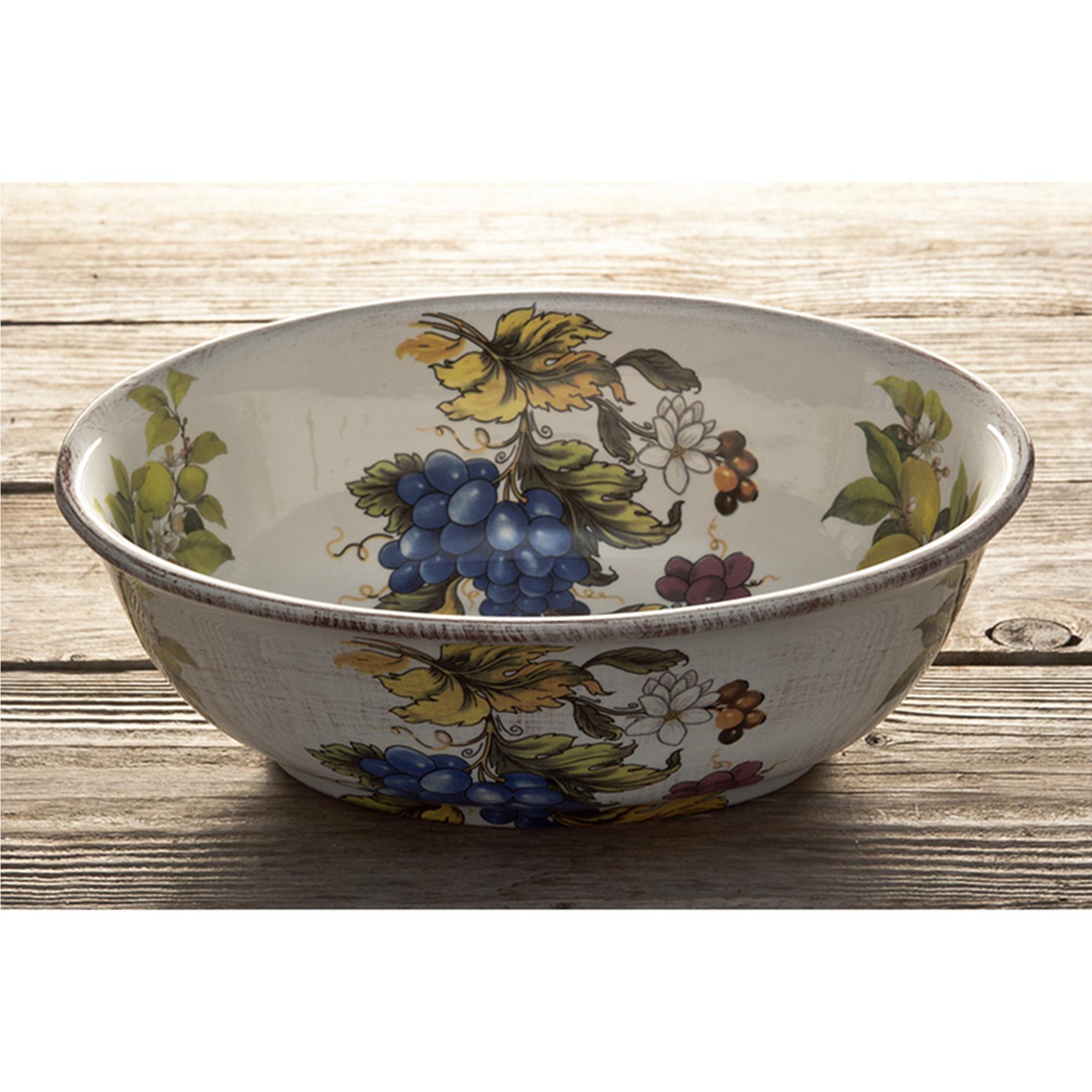 insalatiera Ovale in ceramica Frutta antica 22x22 decoro Frutta Antica