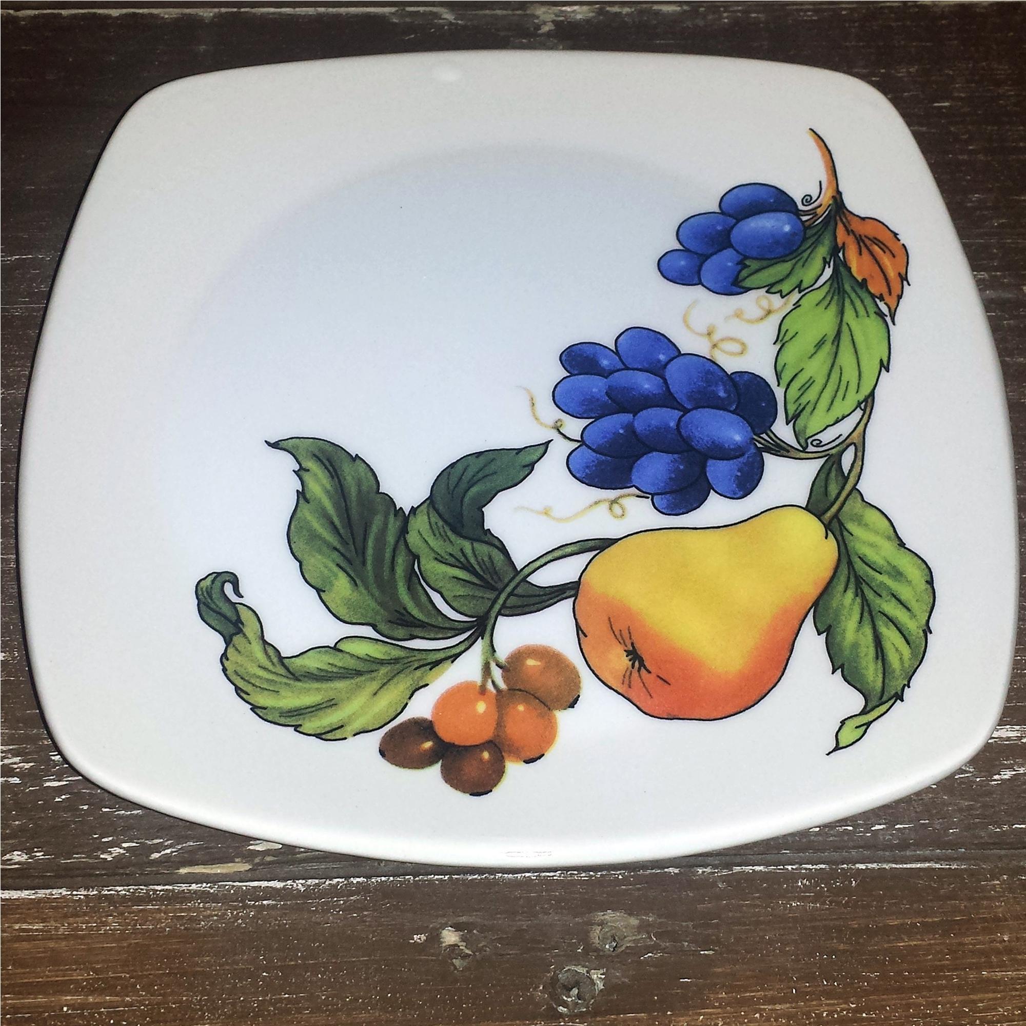 Piatto frutta quadrato in ceramica da 22x22 decoro Frutta Antica