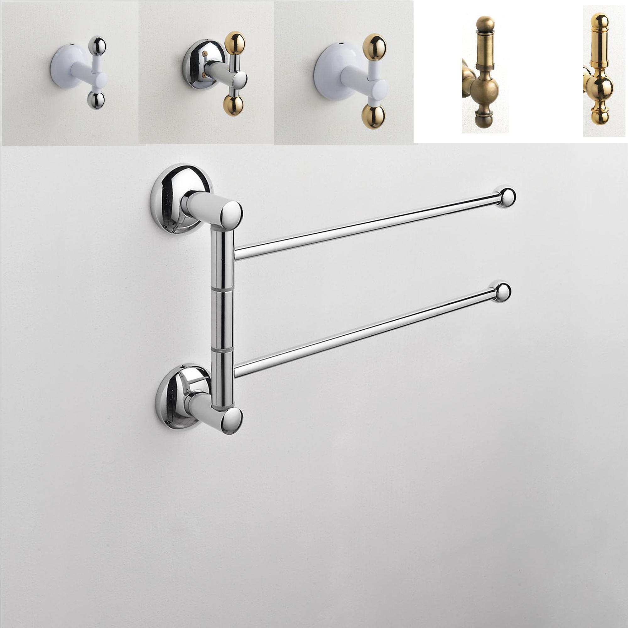 Porta asciugamano doppio da bagno zacinto 32x6xh20 cm in ottone cqubo stilcasa net - Porta asciugamano bagno ...