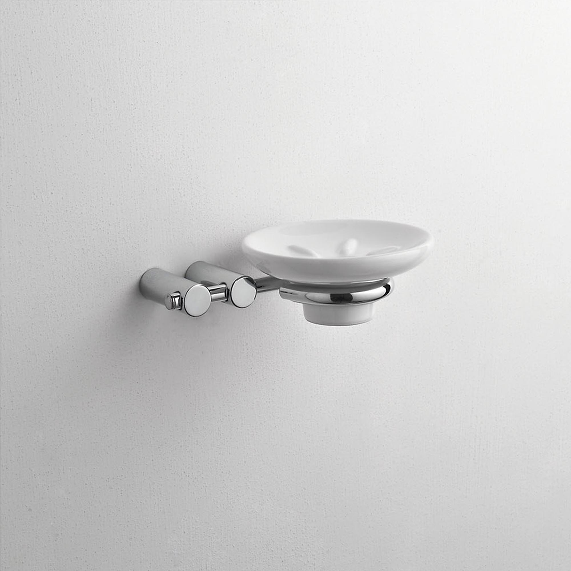 Portasapone Da Muro.Porta Sapone Sospeso Da Muro In Ceramica Kios 16x13xh5 Cm Colore Bianco Fissaggio A Viti Cqubo