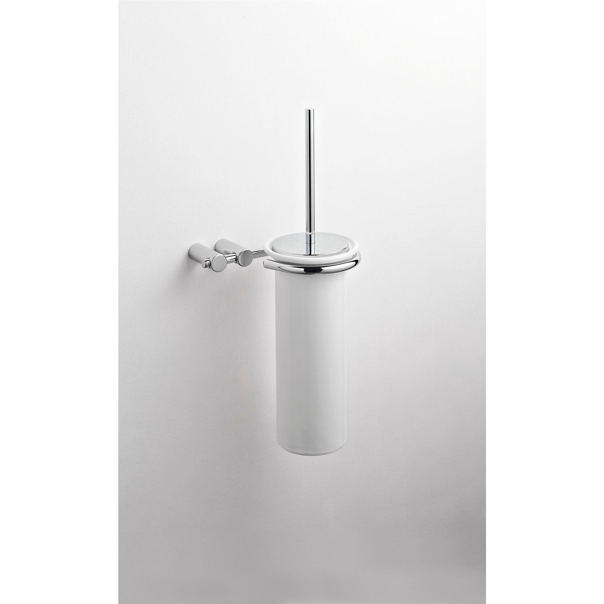 Porta scopino sospeso da bagno 16x15xh39 cm in ceramica fissaggio stop e viti cqubo stilcasa - Porta scopino bagno ...