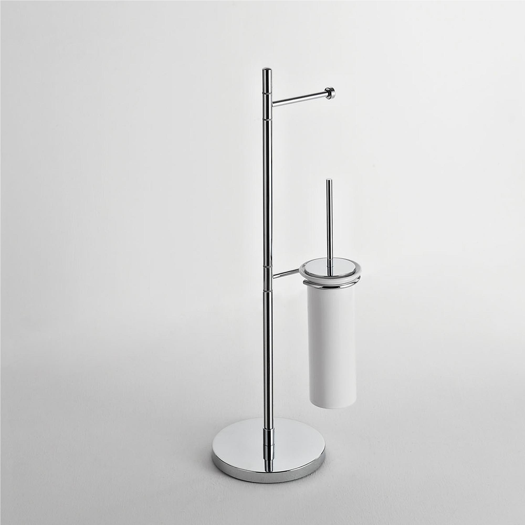 Piantana da WC con Porta carta igienica e porta scopino in ceramica KIOS 38x20xh76 cm con Porta scopino i