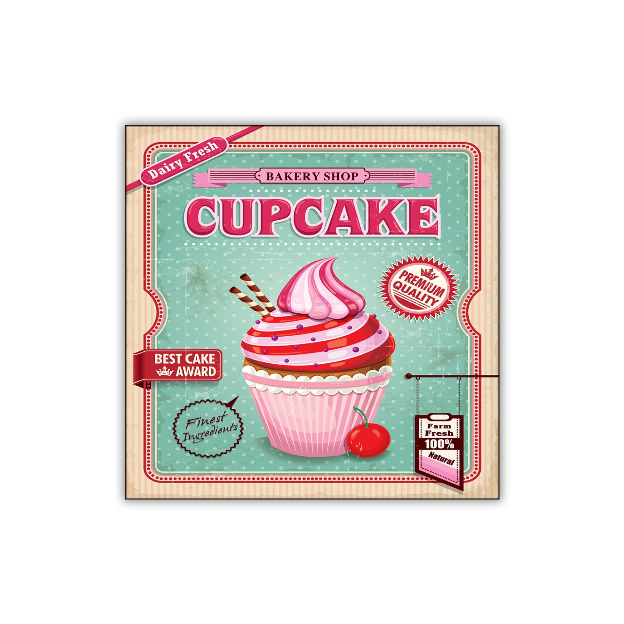 Quadro da muro su tela 40xh40 cm Premium Cupcake realizzato in stampa digitale