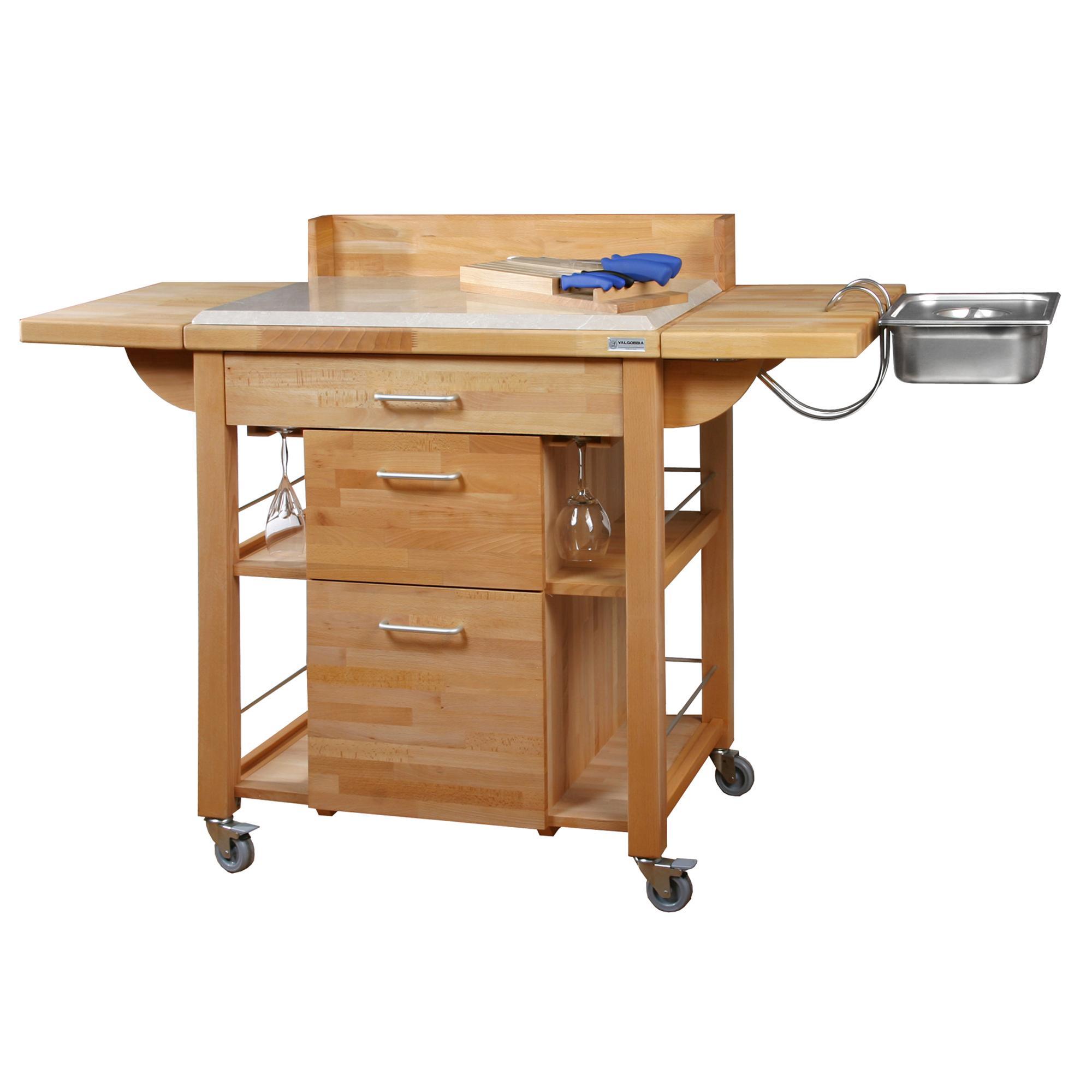 Carrello da cucina a servire 120x80xh120 cm in legno listellare di ...
