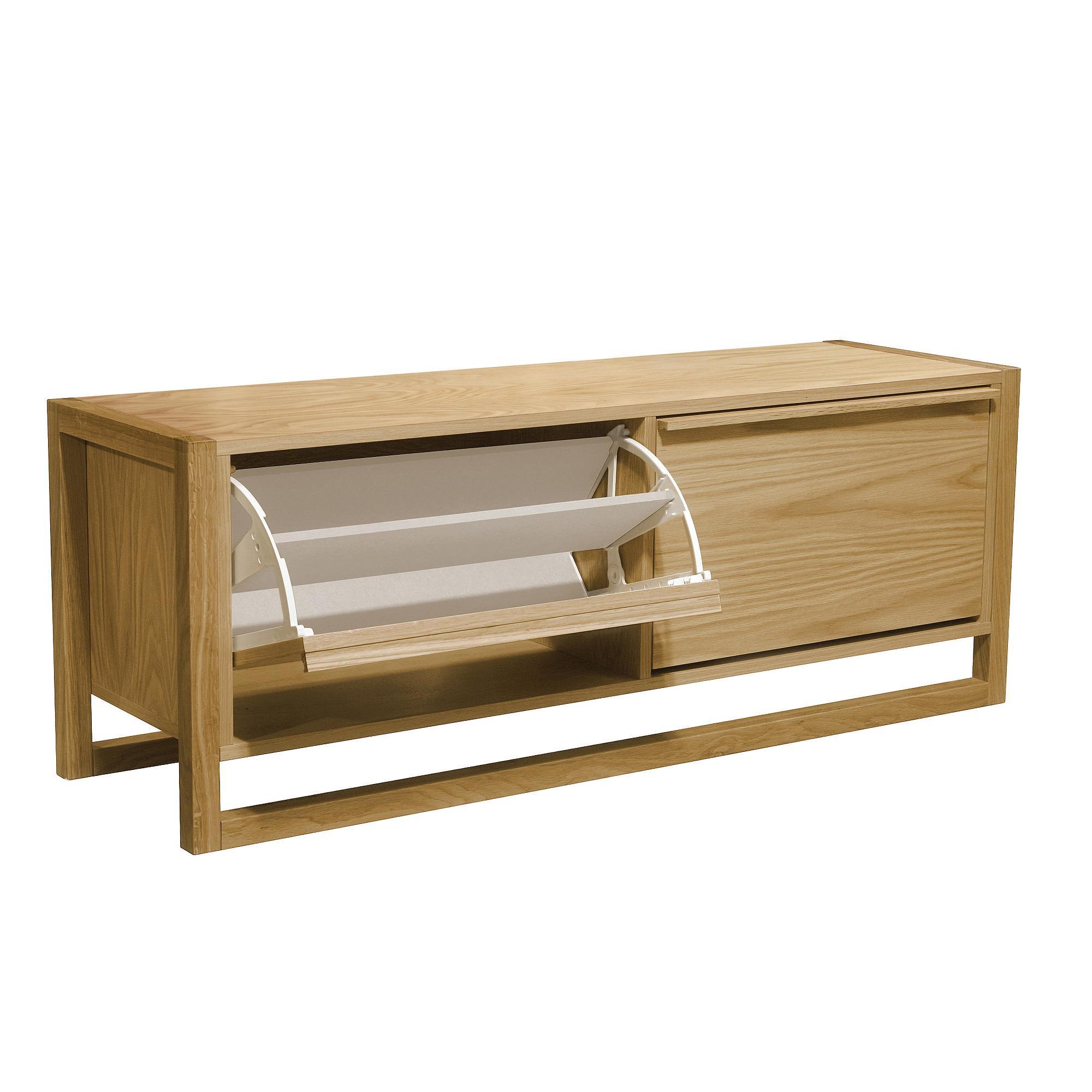 Scarpiera panca due porte New Est 120x38xh50 cm peso 31 kg in legno colore legno di rovere