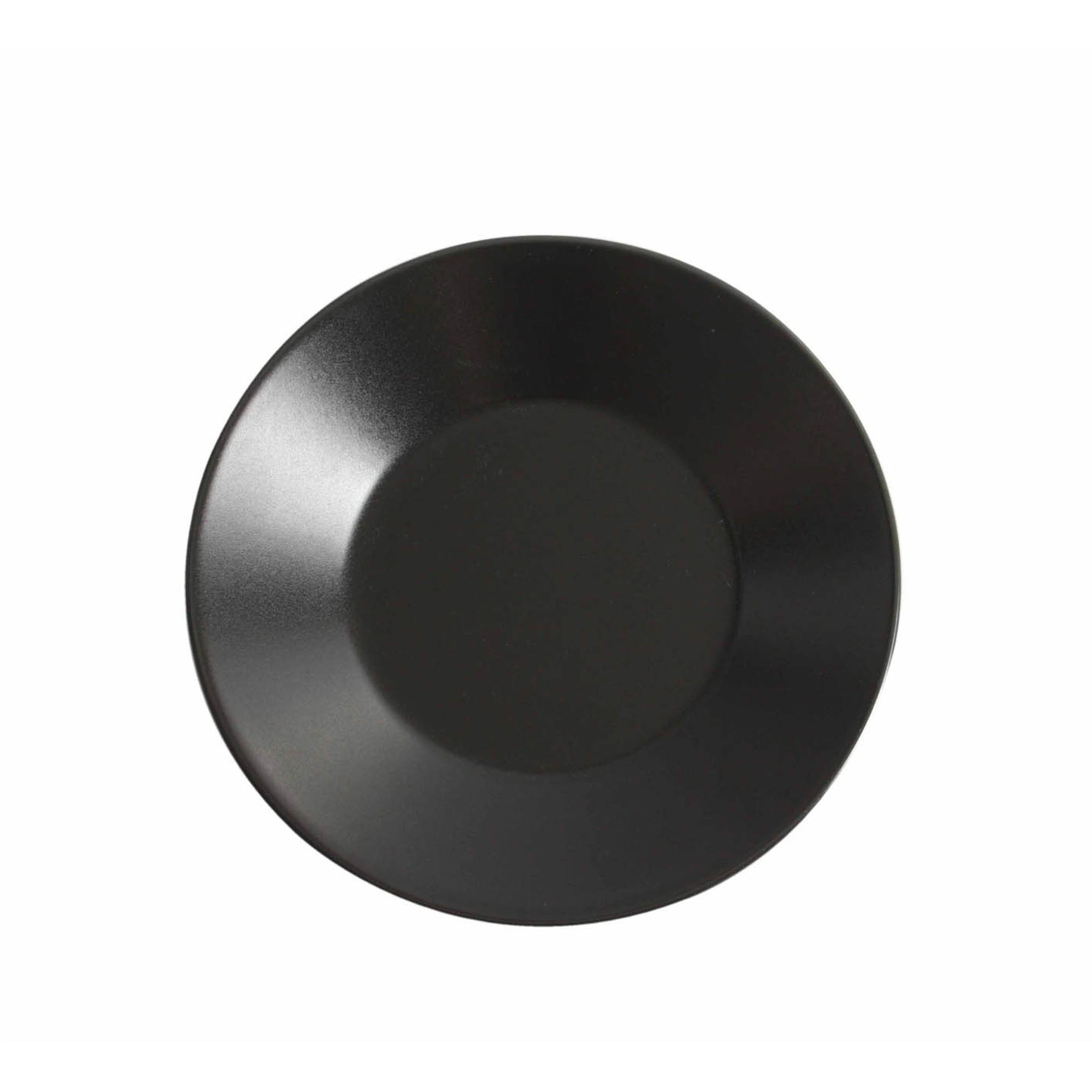 Piatto piano da Frutta rotondo 6 pezzi in Gres Nero 21 CM in colore nero