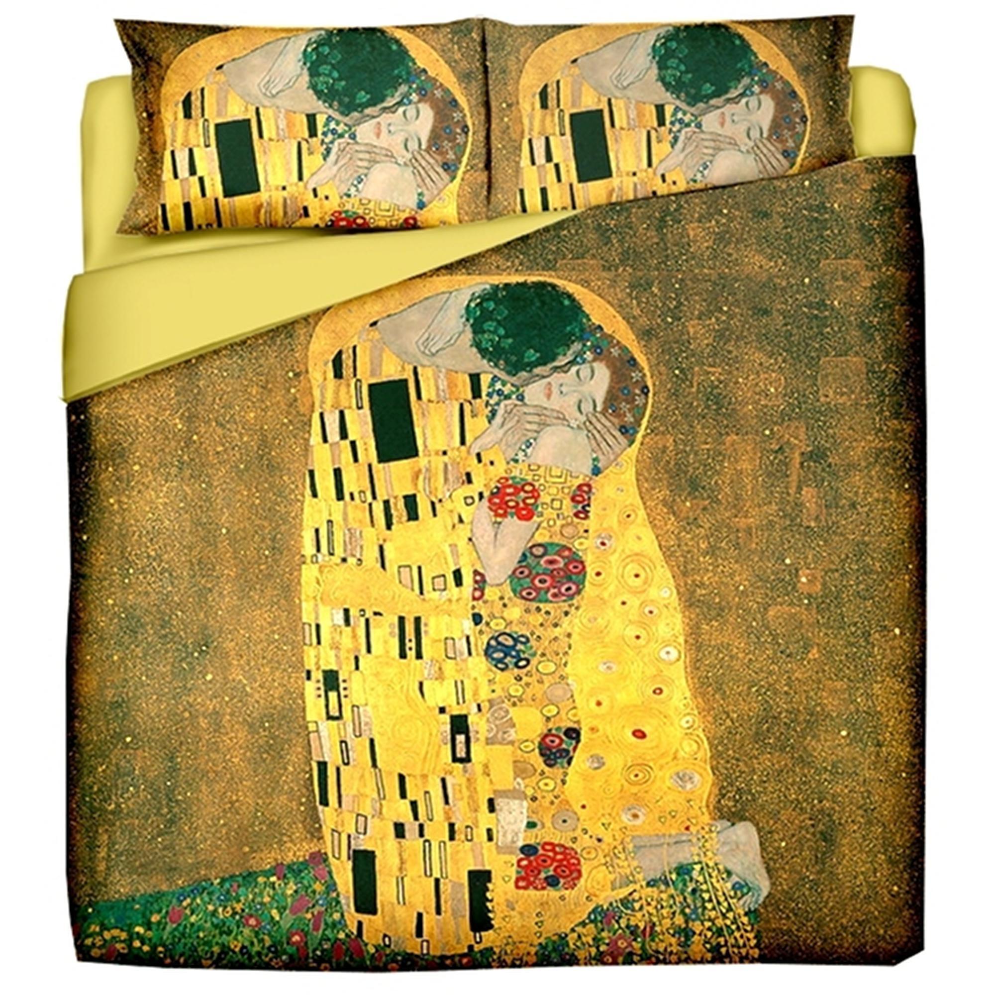 Parure Copripiumino Matrimoniale Klimt.Copripiumino Matrimoniale Composta Da 1 Copri Piumino Cm 250x240 2 Federe Cm 50x80 Klimt Il Bacio Puro Cotone Di Alta Qualita Mano Morbida