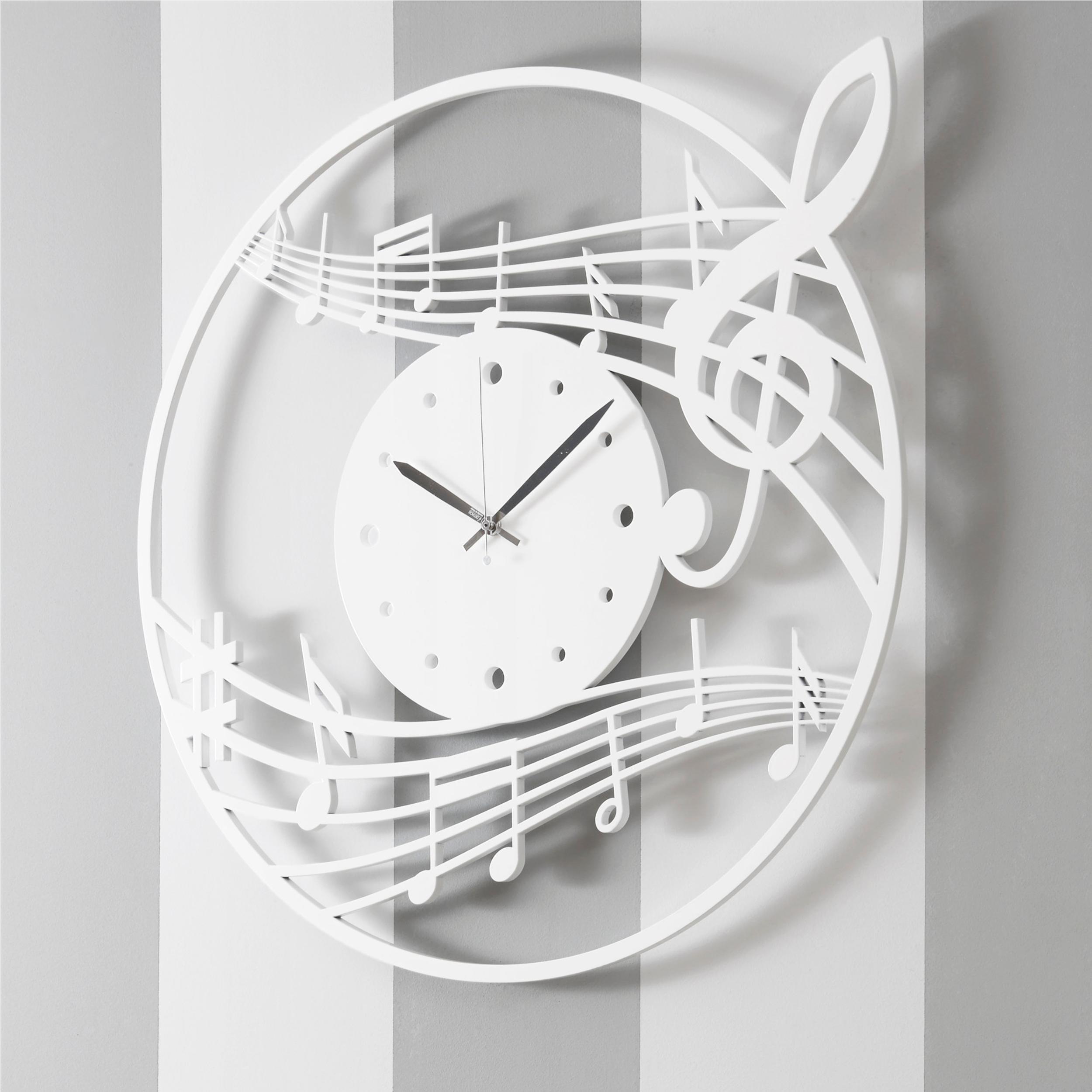 Orologio da parete Rotondo diametro 70 cm in legno MUSICALMENTE tagliato al laser in legno laccato bianco