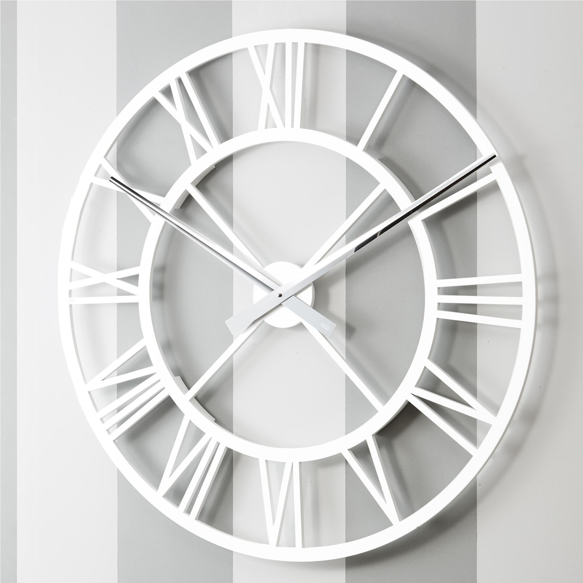 Orologio da parete Rotondo diametro 80 cm in legno IMPERO tagliato al laser in legno laccato bianco opaco