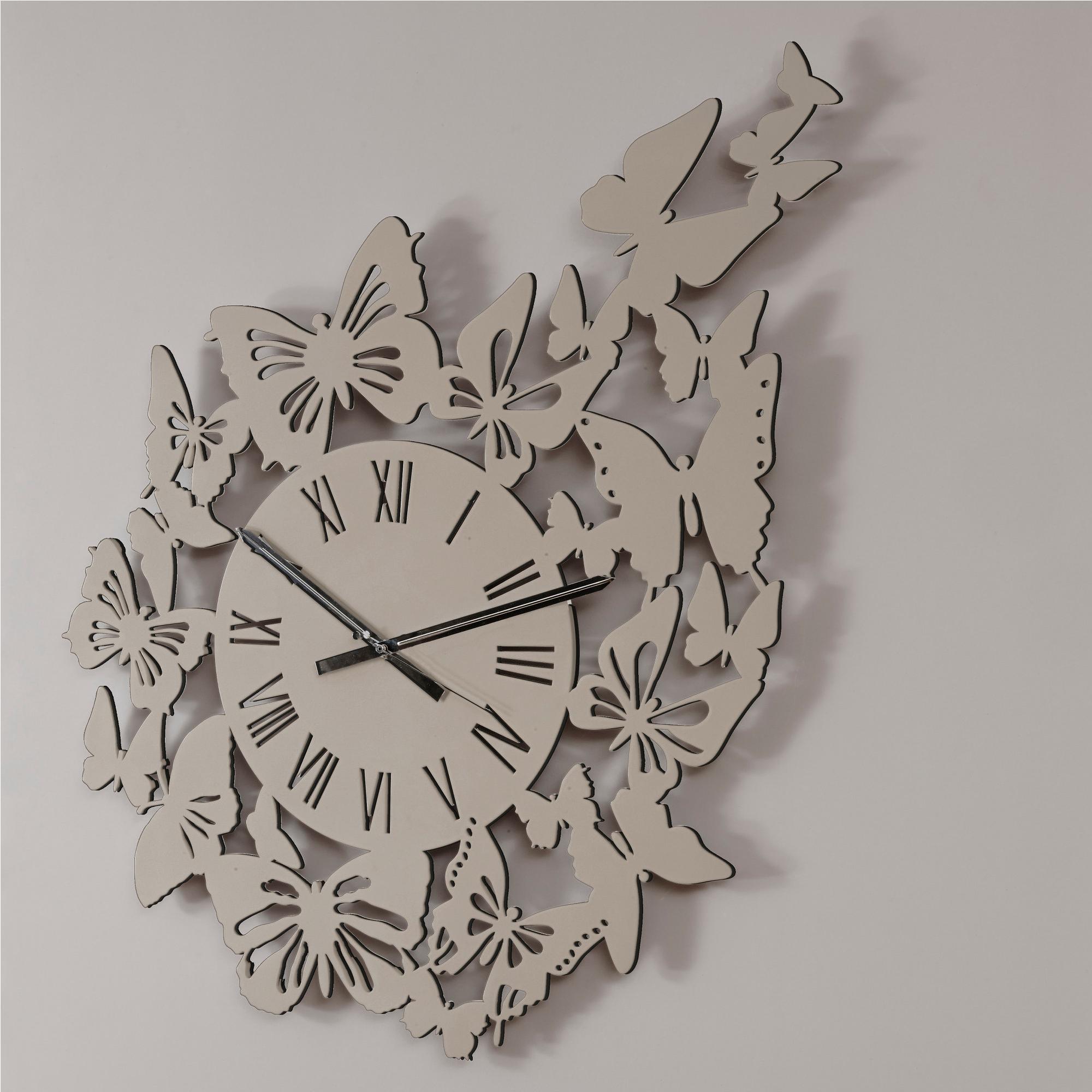 Orologio da parete rotondo diametro 80 cm in legno volo di for Orologio da muro farfalle