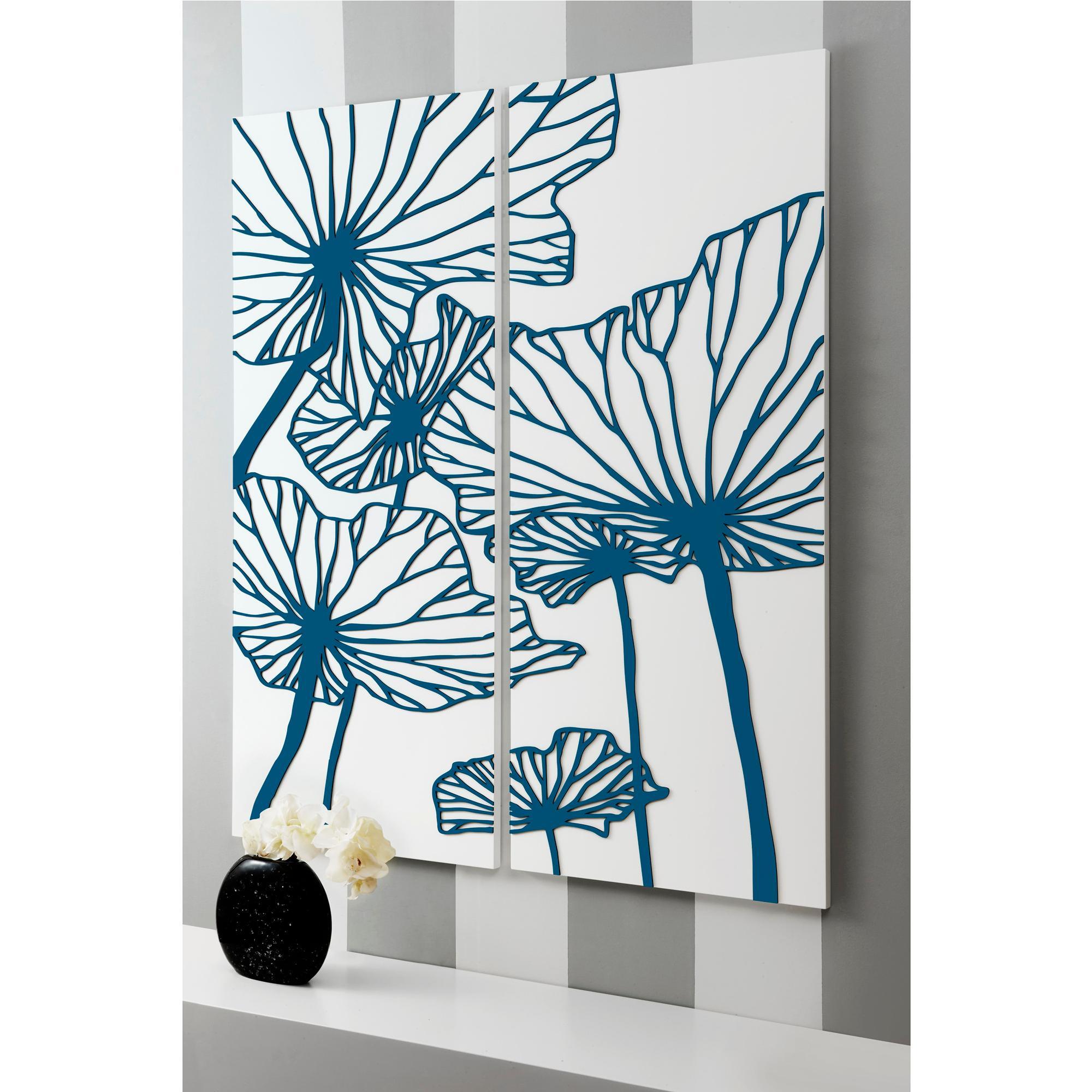 Arredamento Color Petrolio pannelli da parete, quadro da parete delicatesse 100xh120cm in legno  verticale bianco intarsi in legno color petrolio | i dettagli