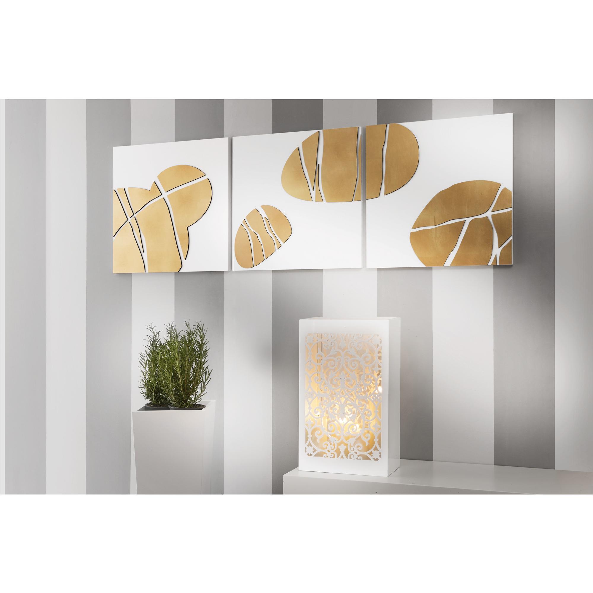 Tris Pannelli da parete in legno fondo bianco con foglia oro 150x50xh1,5 cm legno laccato bianco