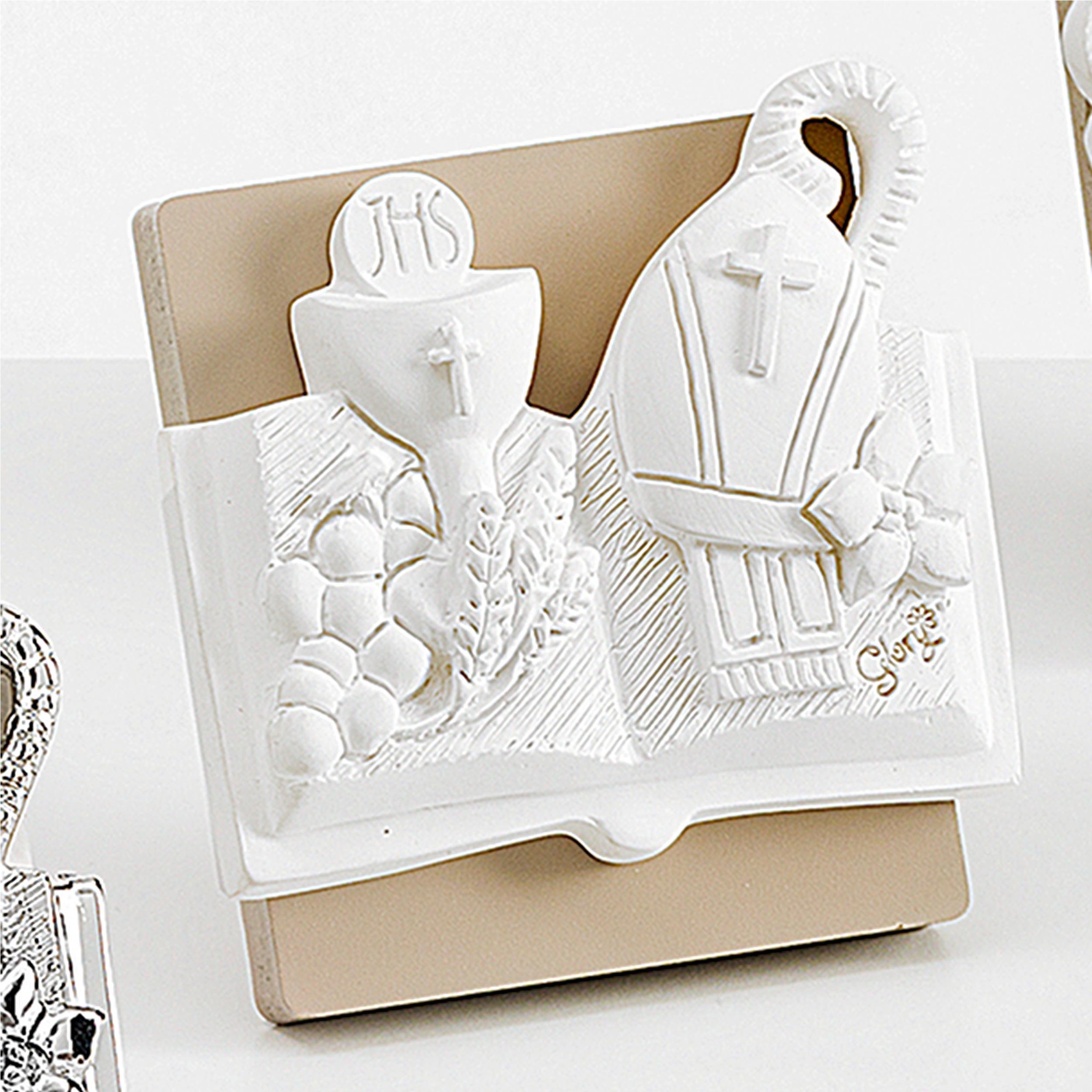 f19310a6d155 Icona per cresima e comunione Comunione E Cresima in resina Bianco 7x7cm in  scatola regalo