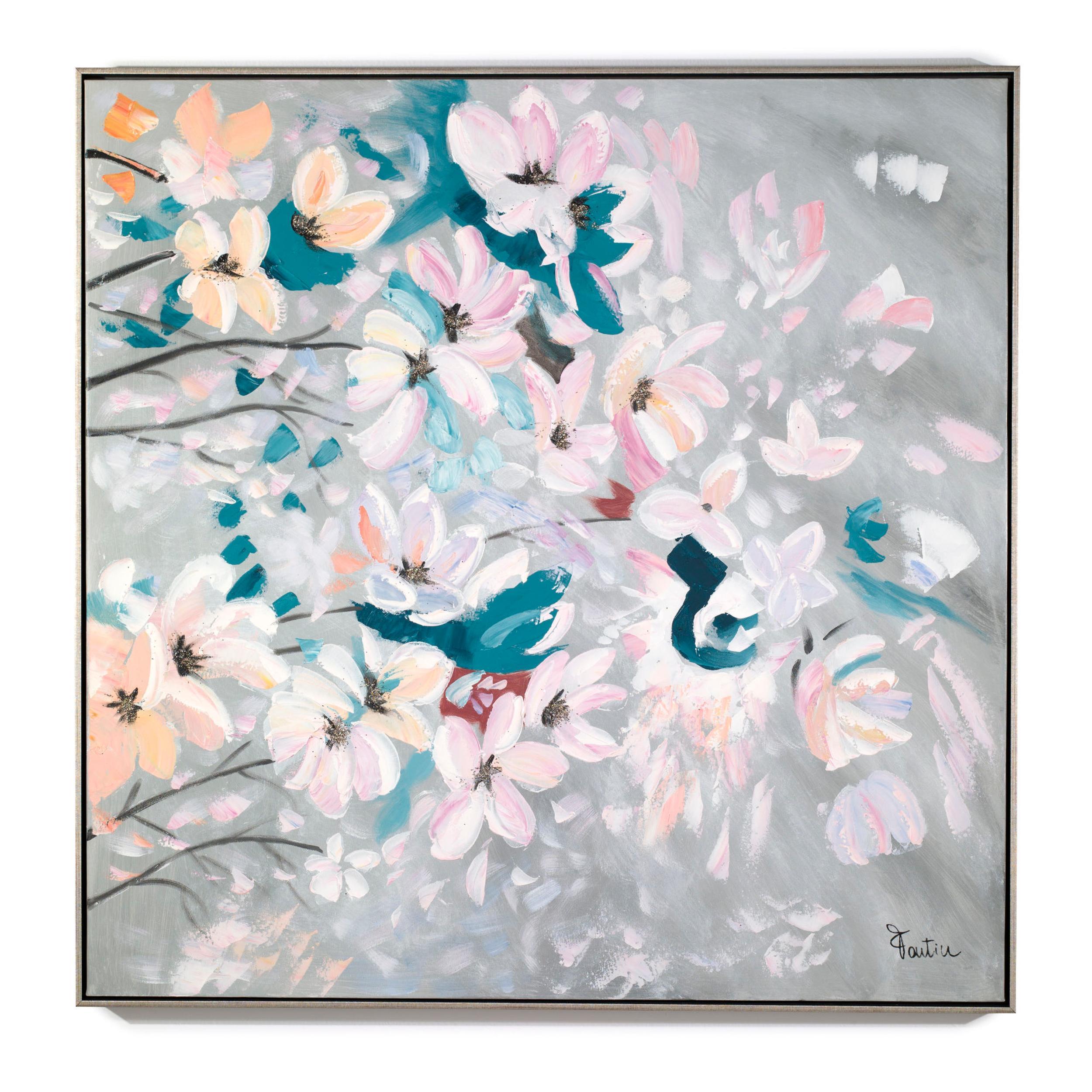 Pannello da parete, quadro con cornice Ramo Fiorito 100x100x1,6 cm orizzontale pannello in legno colore m