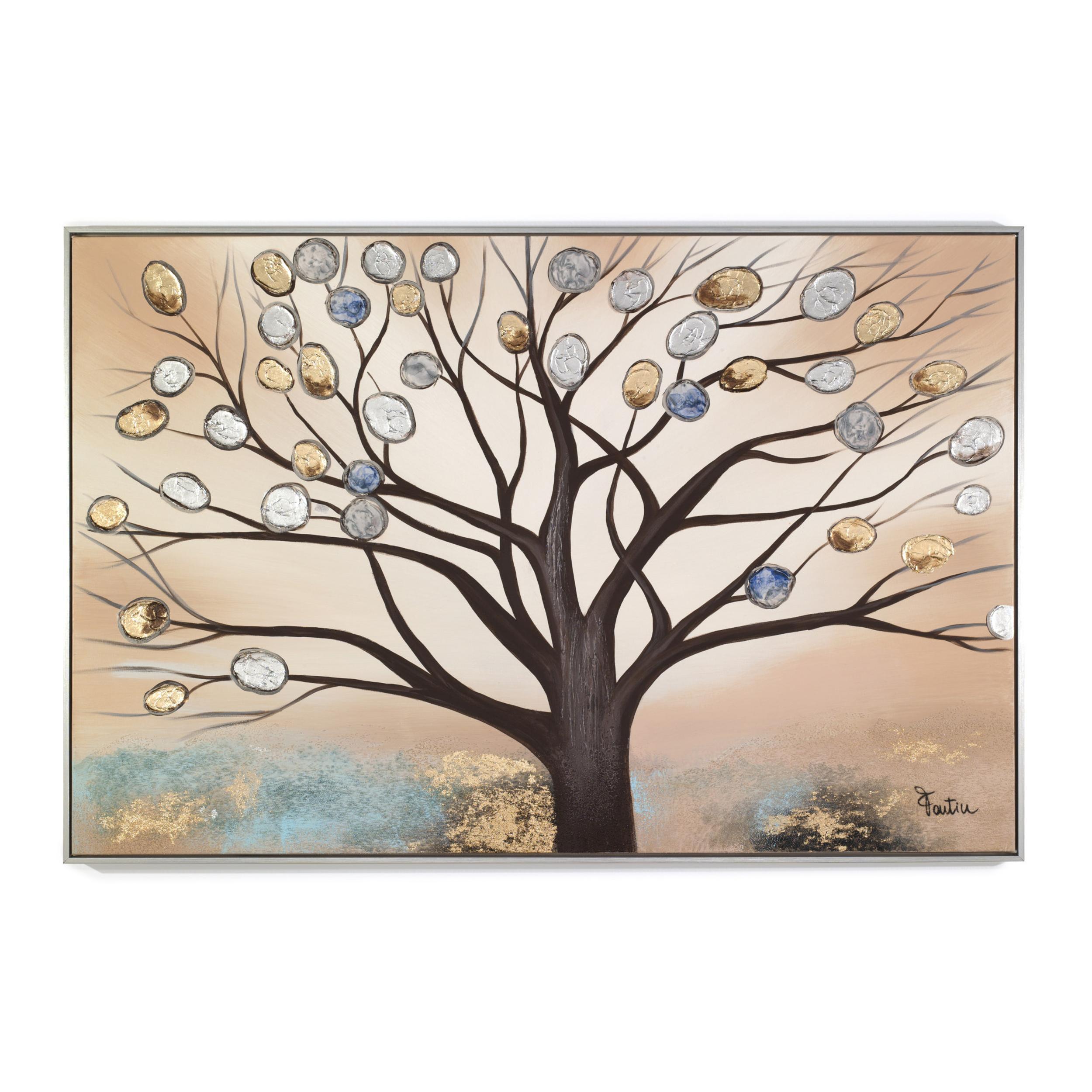 Pannello da parete, quadro con cornice Albero Foglie 120x80x1,6 cm orizzontale pannello in legno colore m