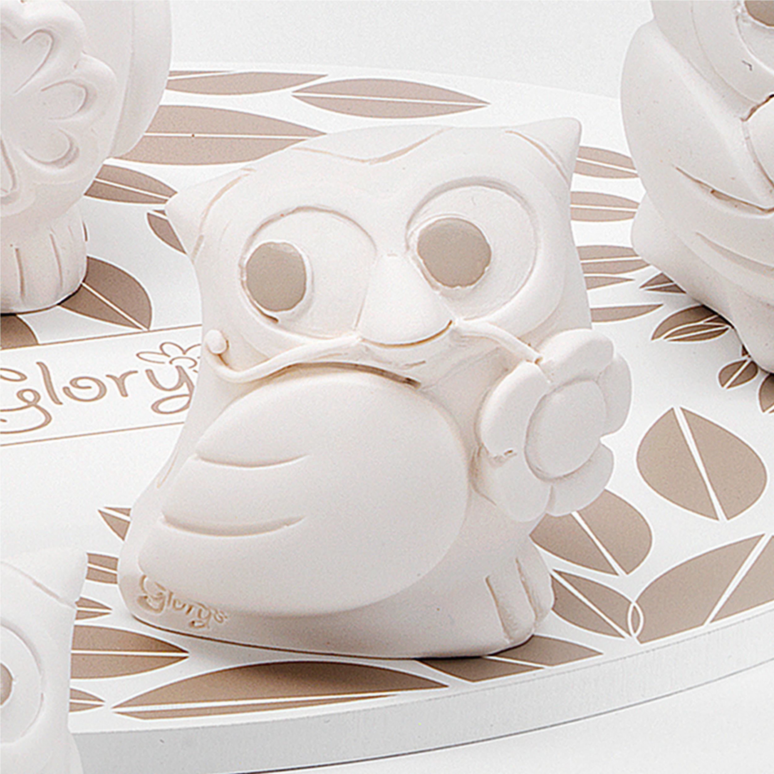 Gufo Fiore per cresima e comunione in resina Bianca h 6 cm in scatola  regalo , bomboniera | Fantin Argenti