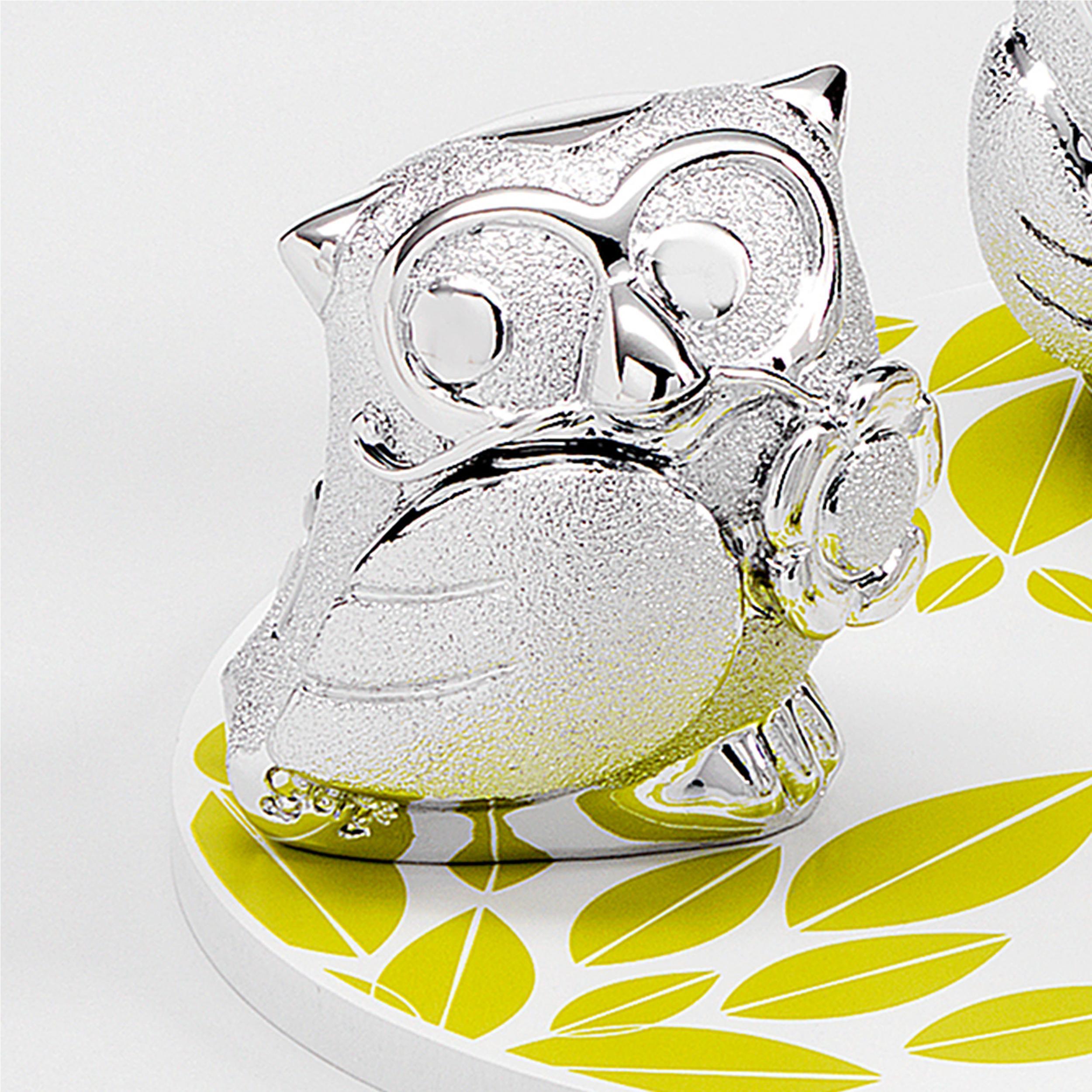 Gufo Fiore per cresima e comunione in resina argentata h 6 cm in scatola  regalo , bomboniera | Fantin Argenti
