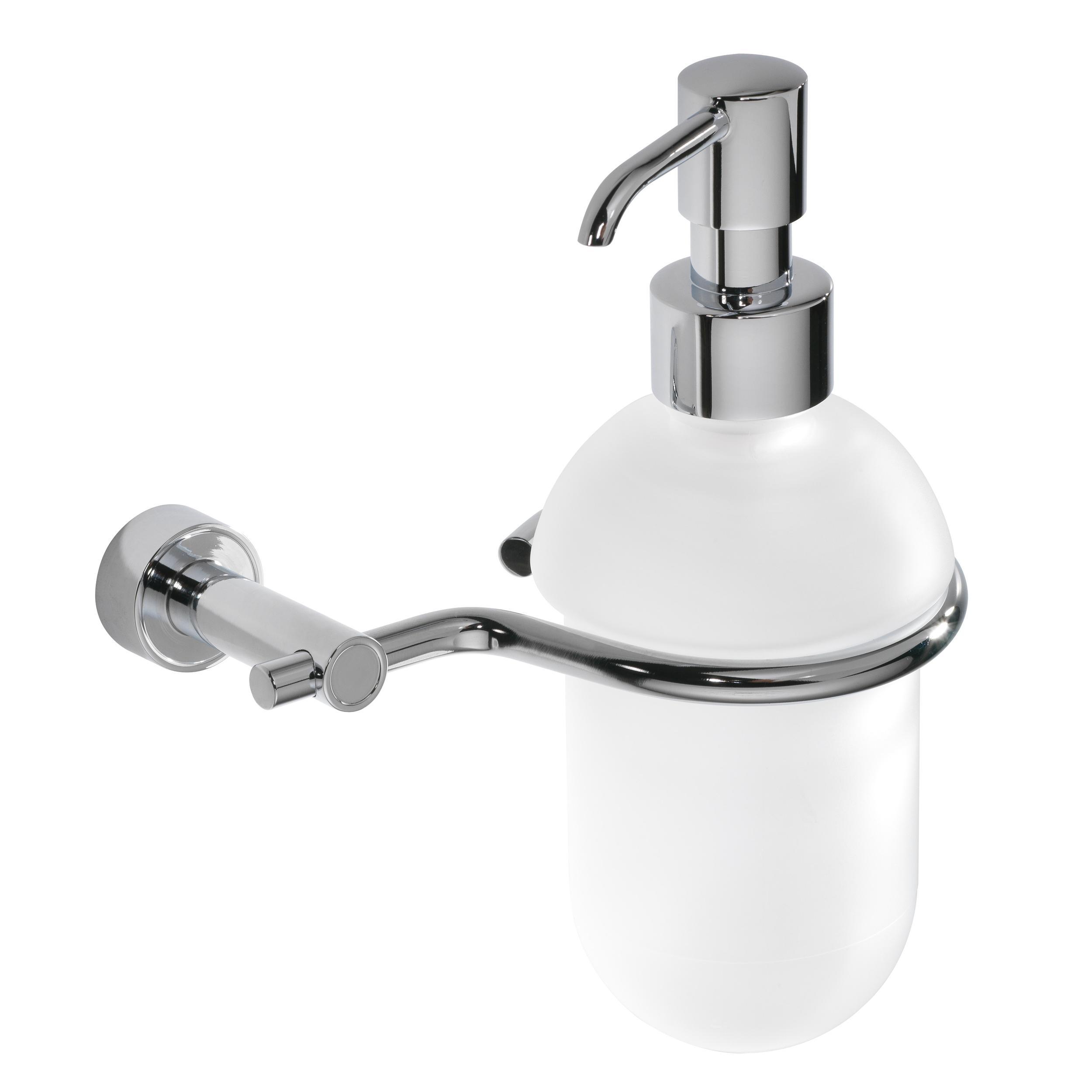 Accessori Bagno Da Appendere porta dispenser in ottone da appendere tiffany 14x11xh19 cm con dosatore in  vetro acidato   carlo iotti- accessori bagno