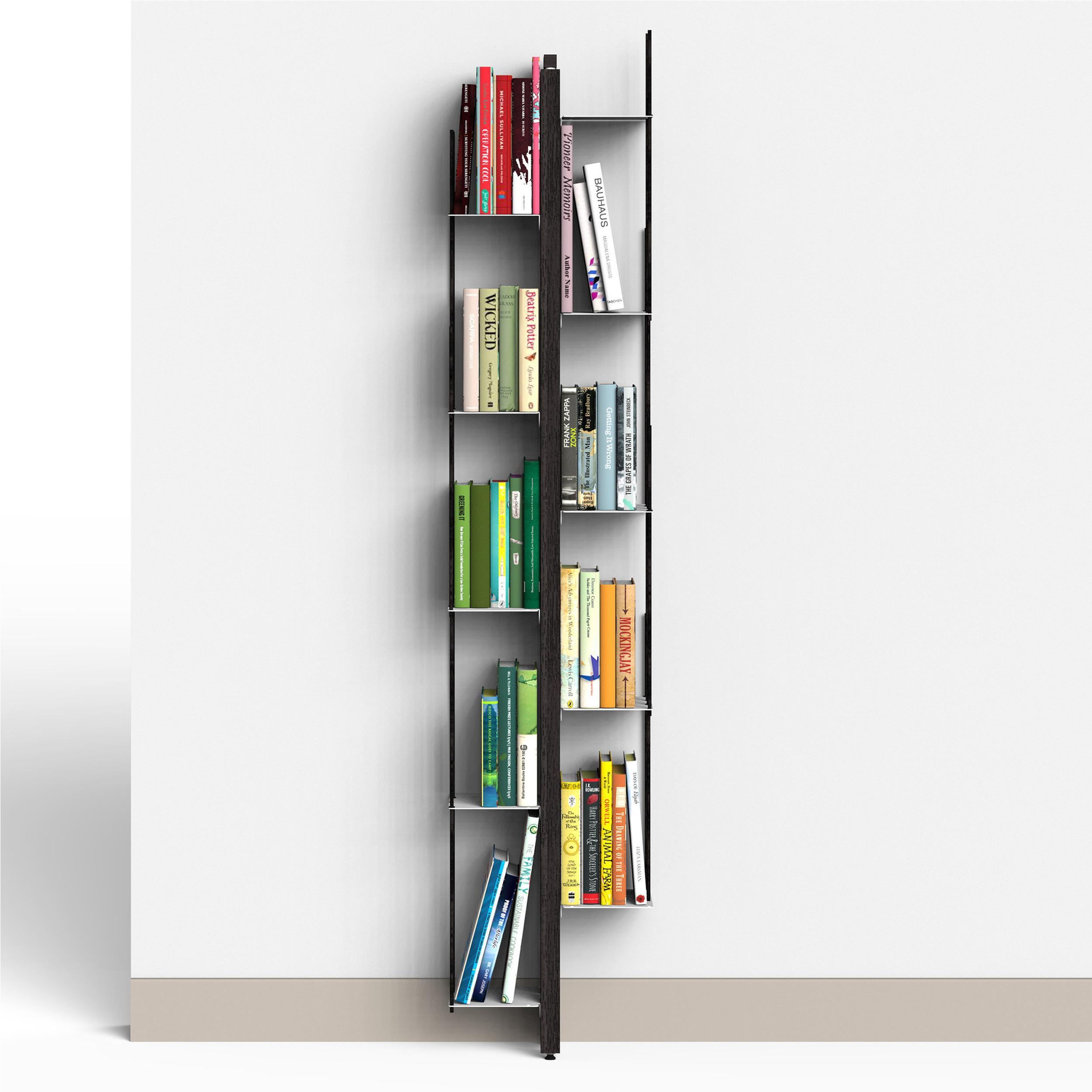 Libreria verticale Fissaggio a PARETE ZIA VERONICA 20x32xh 155 cm con struttura e bacchette in legno massello di faggio evaporato colore NERO Mensole