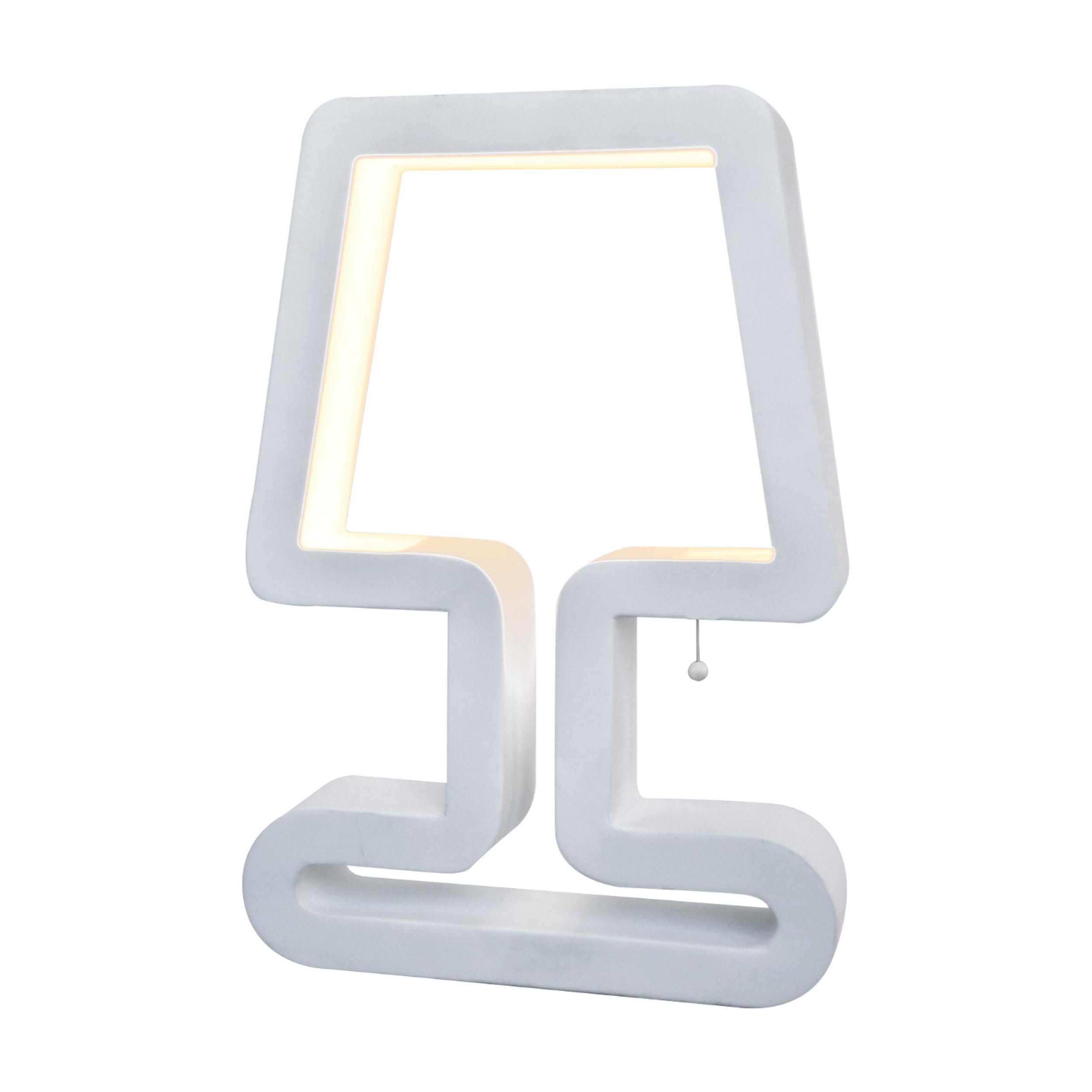 Abat Jour Lampada Da Tavolo A Led Logo In Acciaio E Policarbonato 21x50xh30 Cm 12 W 758 Lumen Colore Bianco Mimax Lighting Stilcasa Net Lampade A Led