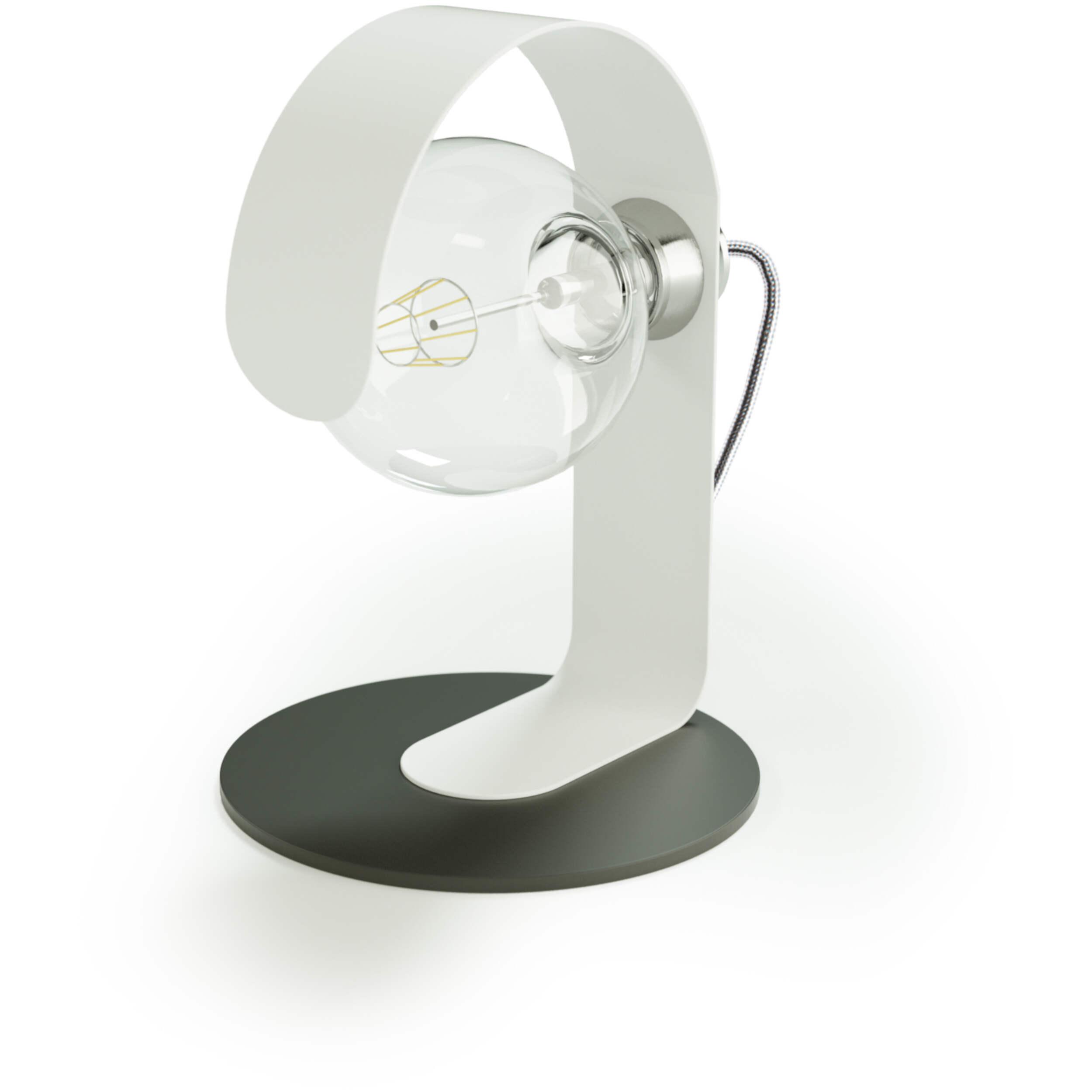 Lampada Da Tavolo Effe In Acciaio Verniciato Diametro 20x20xh 30 Cm Attacco E 27 Base Nera Body Bianco Santomaro Design Stilcasa Net Lampade Da Terra