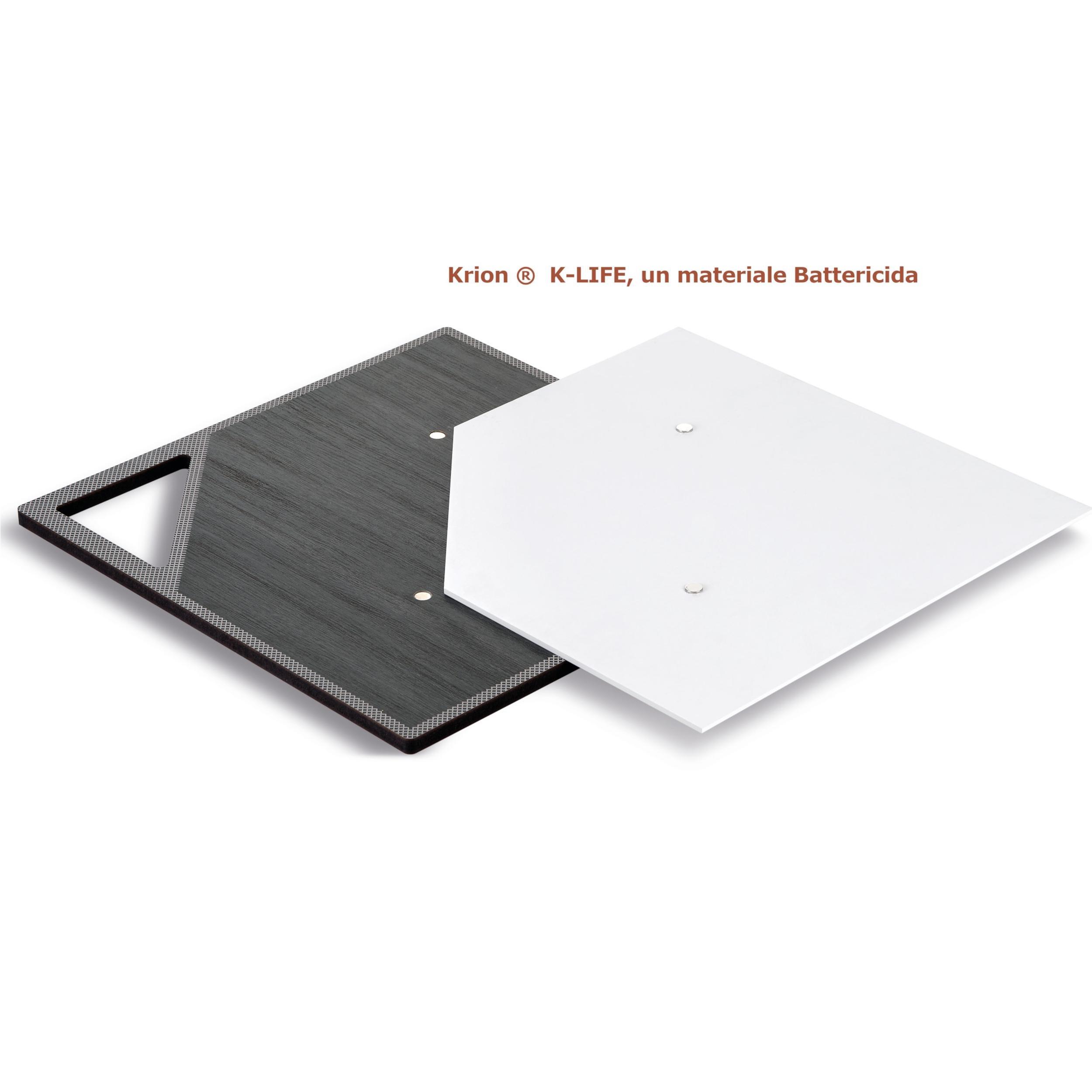 Tagliere Per Piano Cucina tagliere da cucina quadrato in legno con piano in krion k-like black  34x34cm sicuro per la salute , battericida | ves design